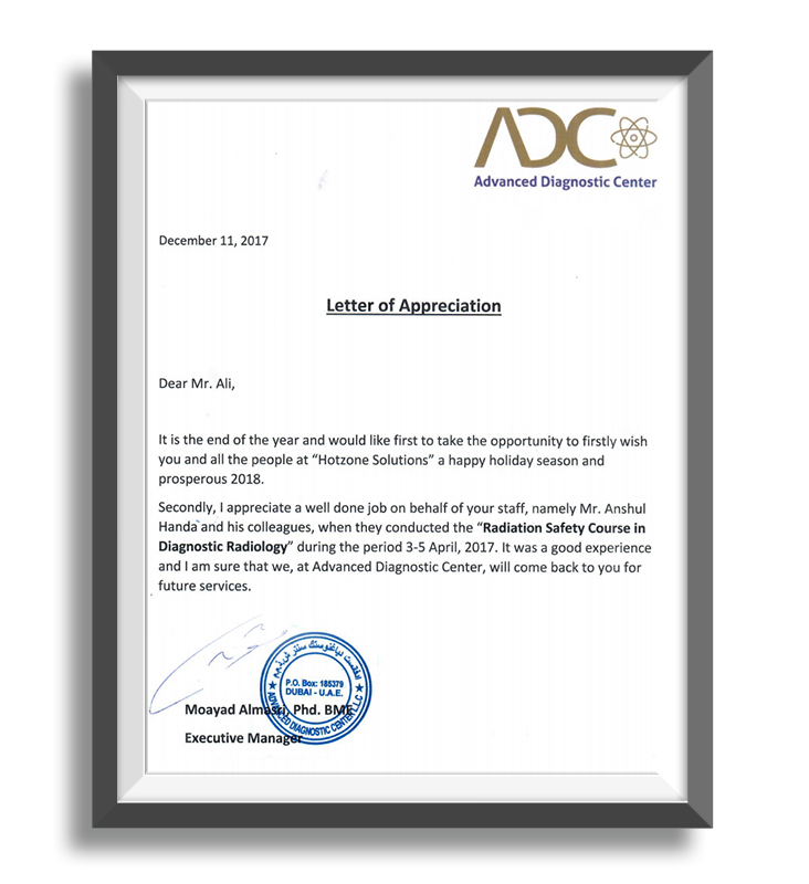 Hotzone Solutions Middle East - FANR and ACTVET Licenced